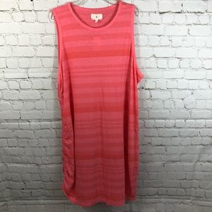 Lou & Grey striped side ruched dress
